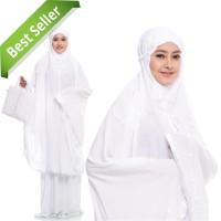 Mukena/Mukenah Grosir Dewasa Terbaru Motif Bali Ribbon Putih