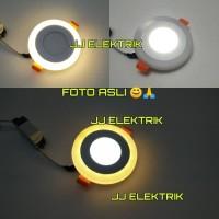Lampu Downlight LED Panel 2 Warna 6w+3w Putih dan Kuning