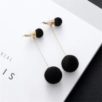Anting Luxury Pom Pom Fluffy Ball Drop Earring - Hitam