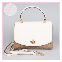 Pre Order Coach Tilly Top Handle Satchel With Signature Canvas White