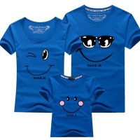 Biru Kaos Couple Keluarga T Shirt Smiling Face 171954