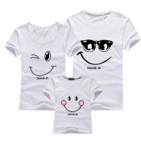Beige Kaos Couple Keluarga T Shirt Smiling Face 1719511