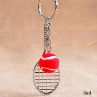 Gantungan kunci raket bola tenis tennis lapangan warna bola merah