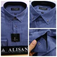 kemeja Alisan motif panjang Kombinasi Slim fit - biru jeans, XL