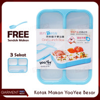 Kotak Makan Yooyee Besar Dewasa 3 Sekat ORIGINAL
