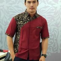 kemeja pria | kemeja lengan pendek | sergam kantor | seragam kerja - Merah, XL