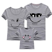 Gray Kaos Couple Keluarga T Shirt Smiling Face 171953