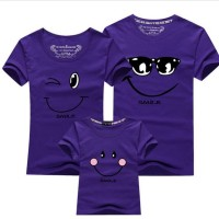 Purple Kaos Couple Keluarga T Shirt Smiling Face 1719512