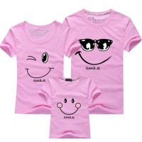 PINK Kaos Couple Keluarga T Shirt Smiling Face 171958