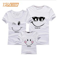 Putih Kaos Couple Keluarga T Shirt Smiling Face 171959