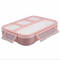 Kotak Makan Anti Tumpah Yooyee 4 sekat warna Peach