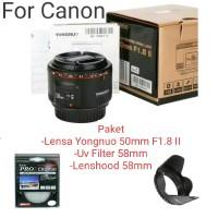 PAKET LENSA YONGNUO 50mm F1.8 MARK II PLUS UV&LENSHOOD