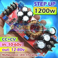 Step Up 1200w 20A DC 10-60v to 12-80v Boost Power Supply Charger CC CV