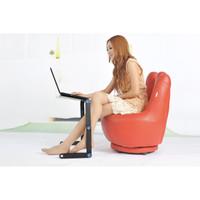 Meja Laptop Portable Aluminium with cooler big fan mousepad - Merah