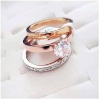 cincin cartier diamond premium stainlesstel