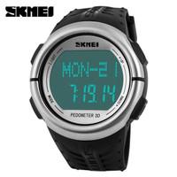 Jam Tangan Digital Sport SKMEI Pedometer Putih Original Impor WR 5 ATM - Putih