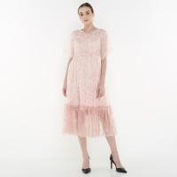 ATELIER MODE Lace Dress Semi Loose Jewel Beading Viola Dress Wanita