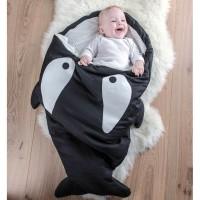 Selimut / Kantung Tidur Bayi Bahan Katun Lembut Hangat Bentuk Ikan Hiu