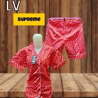 piyama katun celana pendek LV supreme