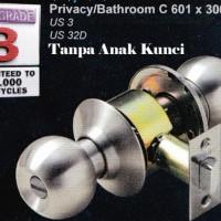 Handle kunci pintu bulat kamar mandi Solid c601x300 silver c601 x 300