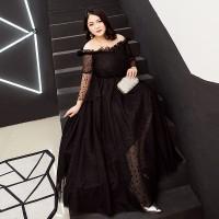 Gaun Pesta 1908013 Big Size Hitam Sabrina Party Dress Gown