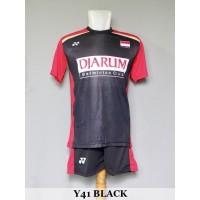 Baju Olahraga Kaos Badminton Setelan Bulutangkis Yonex Y41 Black