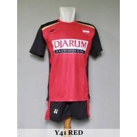 Baju Olahraga Kaos Badminton Setelan Bulutangkis Yonex Y41 Red