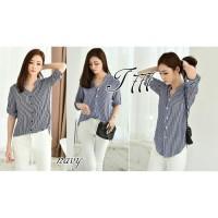 blouse / baju wanita / stripe / hem / kemeja / atasan / atasan wanita