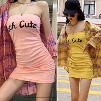 SUCH CUTE Dress Kemben Wanita Dress Bodycon Mini Dress Beachwear