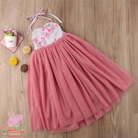 Dress pesta panjang anak bunga / long dress anak tutu gaun - 140