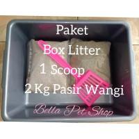 PAKET Box Bak Litter Pasir Wangi Sekop Kucing Anjing L