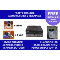 Paket instalasi Kamera CCTV 2MP 8 channel SPC Bazooka (BERGARANSI)