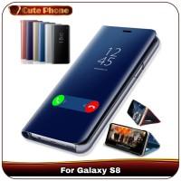 Casing Samsung Galaxy S8 S 8 Soft Hard Flip Cover Case Mirror View - Hitam