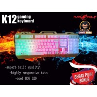 KEYBOARD GAMING WARWOLF K12 GOLD WITH RGB LED