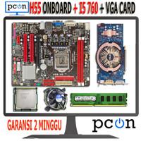 Motherboard Intel LGA 1156 H55 Oboard i5 760 Ram 2gb dan VGA Card