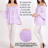 SALE Baju Branded Wanita Blouse Merk A.N.A Purple and Flt Striped