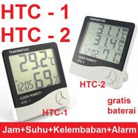 HTC-2 Thermometer Suhu Hygrometer Clock Temperature Humidity Meter HTC
