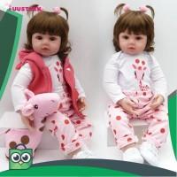 NPK Mainan Boneka Baby Bayi Reborn Silikon 55Cm Baju Akte