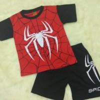 Kaos Setelan Anak Laki Gambar Spiderman