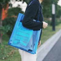 High Quality Transparent PVC Tote Bag Tas Bahu Wanita - Biru