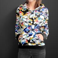 Jaket Hoodie Pullover Wanita Motif BUNGA FLORAL Trending Style