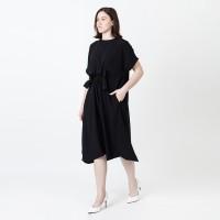 DRAWSTRING DRESS - BLACK