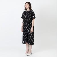 DRAWSTRING DRESS - (AOP CHAIN LINK) BLACK