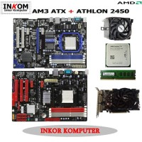 Paketan Motherboard AMD AM3 ATX Offboard Vga Card 512MB Asrock Biostar