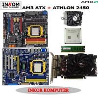 Paketan Motherboard AMD AM3 ATX Offboard Vga Card 512MB ECS Foxcon