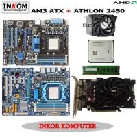 Paketan Motherboard AMD AM3 ATX Offboard Vga Card 512 MB Asus Gigabyte