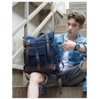tas pria trd25 tas ransel kanvas kombinasi kulit backpack travel