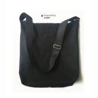sling bag kanvas, resleting/zipper,pria dan wanita, selempang hitam