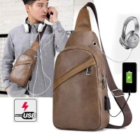 NEW Best Seller Tas Selempang Slempang Kulit Pria Sling Bag USB Port E