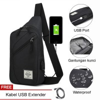 Navy Club Tas Selempang Travel USB Port Tahan Air Sling Bag Tas Pria T